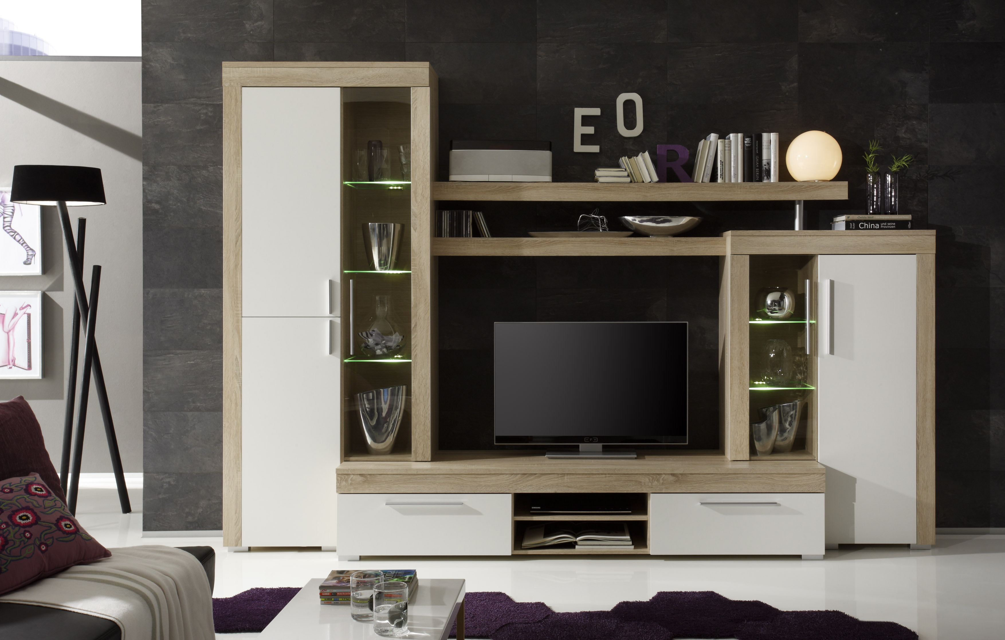 wohnwand boom schrankwand modern inkl led. Black Bedroom Furniture Sets. Home Design Ideas