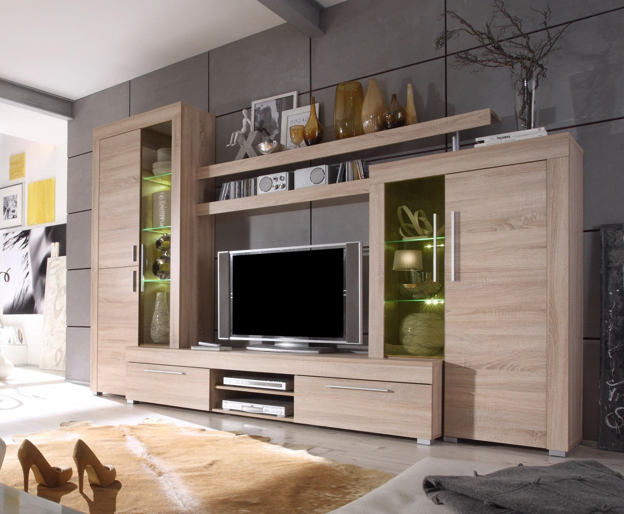wohnwand boom schrankwand inkl led beleuchtung schnelle lieferung ebay. Black Bedroom Furniture Sets. Home Design Ideas