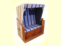 Bild für EB Strandkorb blau in Mahagoni Modell mit Kissen