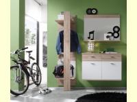 Bild für TrendTeam Garderobe 101G3 Kombination 3-teilig mit Wandspiegel, Eiche hell/ weiß