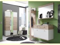 Bild für TrendTeam Garderobe 101G4S Kombination 4-teilig mit großem Schrank und Spiegel, Eiche hell/ weiß