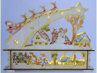 Bild für Heitronic LED Lichterbogen Holz Sternschnuppe Weihnachtsmann Rentierschlitten