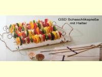 Bild für GSD Schaschlikspieße 6-Grillset mit Halter Edelstahl